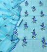 Kota Doria Embroidery Dress Material - Cool Blue