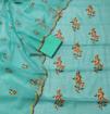 Kota Doria Embroidery Dress Material - Sea Green