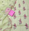 Kota Doria Embroidery Dress Material - Lemon Green