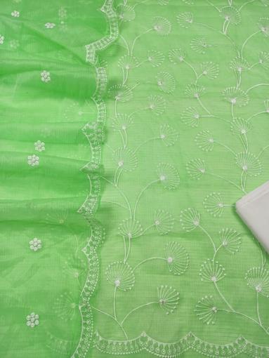 Embroidered Kota Doria Dress Material - Green