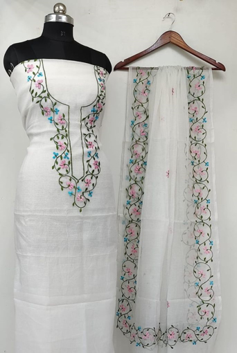 White Kota Doria Dress Material with pink and blue flowers